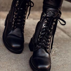 Chanel Quilted Combat Boots 37